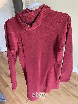 Melanzana Microgrid Fleece Medium Hoodie Dress Red Quick Dry Pockets