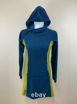 Melanzana S Micro Grid Hooded Hoodie Dress Teal Blue Lime Green Small