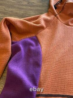 Melanzana micro grid Dress W Hood womens L Brand New Phlox/ochre