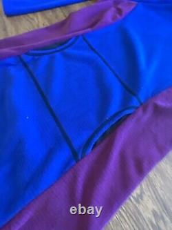 Melanzana micro grid Dress W Hood womens L Brand New Surf/phlox