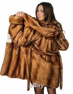 Mink Woman Fur Coat With Hood And Golden Belt