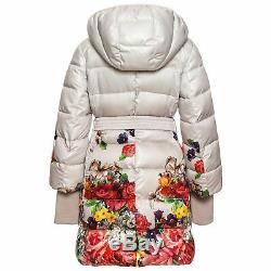 Monnalisa Snow White Floral Print Coat Belt Hood Down Padded Warm Top Dress 5