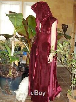 Moresca Velvet Hooded Cape Dress Navy Blue Med Renaissance