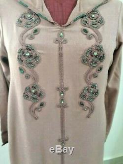 Moroccan Jellaba Embroidy Caftane Dubai Kaftan Beaded Long Dress Hooded Djellaba