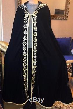 Moroccan Kaftan Cape Selham Lebsa Black Velvet Gold Hooded Hood