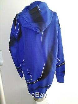 Moschino Couture Hooded Sweater Dress Sz Small Electric Blue Shocking Pink Italy
