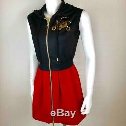 Moschino Couture Womens Skater Dress Red Black Gold Skull Zip Made In Italy 4