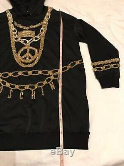 Moschino H&M Black Sparkly Hooded Jersey dress size M