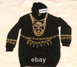 Moschino H&M Black Sparkly Hooded Jersey dress size XS