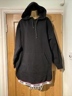 Moschino Hoodie Dress Black Size M Underwear Logo Hem BNWOT