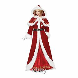 Mrs. Claus Christmas Costume Holiday Santa Red Hooded Cape Dress 2X Plus Size