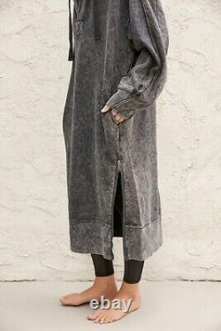 NEW FREE PEOPLE MOVEMENT Sz M SPUR OF THE MOMENT MAXI HOODIE TUNIC SWEATSHIRT