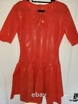 NEW Latex Rubber dress Bow Uniform Red Riding Hood Disney style Cosplay Roleplay