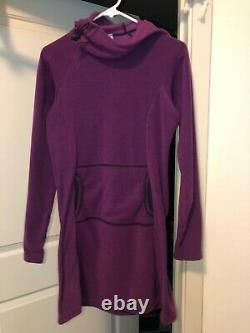 NEW Melanzana Micro Grid Hoodie Dress, Womens Medium Phlox, New withsticker