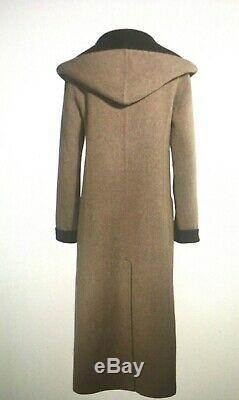 NEW PERUVIAN CONNECTION Brown STRATFORD Alpaca Wool Long Hooded Coat Small S