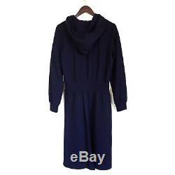 NORDSTROM SIGNATURE long sleeve hooded sweatshirt midi dress navy night Sz M NEW