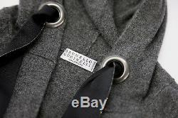 NWT$3595 Brunello Cucinelli 100% Cashmere Hooded Knit Dress WithBeaded Ties M A181