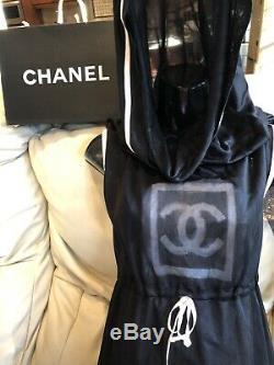 NWT $5k CHANEL 03a Logo Vintage CC BLACK Sport DRESS SWEATER 34 36 2 4 Jacket 6