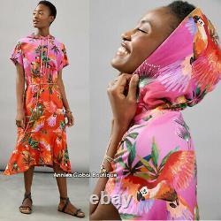 NWT ANTHROPOLOGIE FARM RIO Teresita Hooded Midi Dress. Braided Belt. Size XS