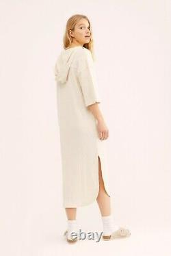 NWT FREE PEOPLE FP BEACH Sz M START OFF MONDAY HOODED PULLOVER MIDI DRESS IVORY
