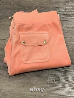 NWT JUICY COUTURE TRACKSUIT SET PANTS AND HOODED JACKET ZIP UP XL PEACH Orange
