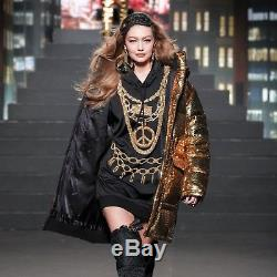 NWT Moschino x H&M Women Black Hooded Long Sleeves Gold Jeweled Dress (Size XS)