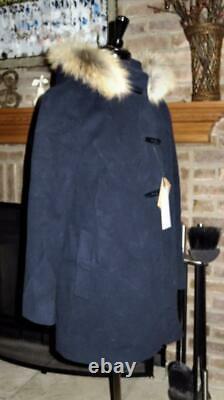 NWT NEW CINZIA ROCCA Navy Blue Wool Cashmere Fur Hood Car Dress Coat 6 $995
