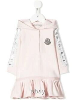 NWT NEW Moncler baby girls pink hooded dress with logo and pleated ruffle 18/24m