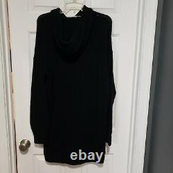 NWT Naked Cashmere hooded tunic Dress black 100% cashmere $$210 knit