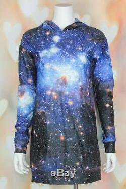 NWT Rare BLACK MILK Hoodie BLUE GALAXY Sweater Dress SLOUCHY Pullover Top S