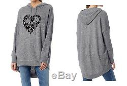NWT Skull Cashmere Boa Wool Cashmere Hoodie Sweater Dress, Grey Size XS, S, M $391
