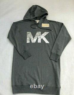 NWT Women's Michael Kors Logo Hoodie Dress Sweatshirt Hooded MK Sequin Gray M