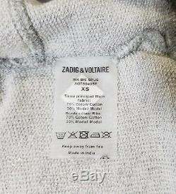 NWT Zadig & Voltaire Sia Bis Dress Hooded Grey Size XS, S $178