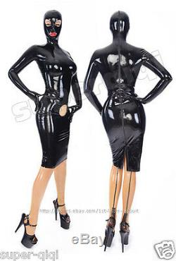 New! 100% Latex Rubber 0.45mm Dress Skirt Mask Hood Unique Suit Catsuit Sexy Hole
