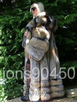 New 2019 Exclusive Imperial Saga Gold Cross Fox Fur Swing Coat Massive Hood