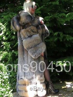 New 2019 Exclusive Imperial Saga Golden Cross Fox Fur Swing Coat Massive Hood