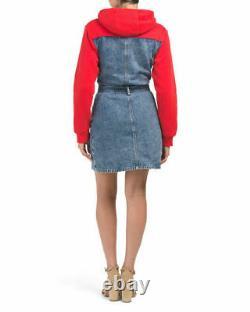 New Authentic TRUE RELIGION Denim 2002 Sweatshirt Top withHood Button-up Dress