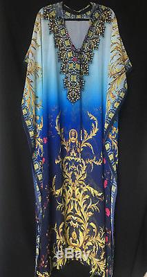 New CZARINA CRYSTALS HOODED LACE UP KAFTAN DRESS ONE SIZE