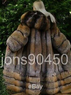 New Exclusive Imperial Saga Gold Silver Cross Fox Fur Swing Coat Massive Hood