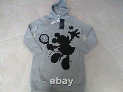 New Lacoste X Disney Minnie Mouse Tennis Print Hooded Dress Womens 34-2 Grey