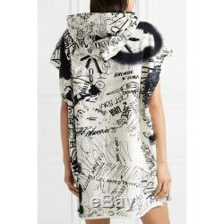 New Maison Margiela Mm6 White Cotton Scrible Print Hooded Oversized Dress Uk8/s
