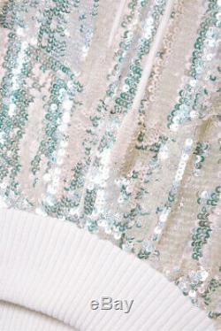 New Retrofete Amelia White Sequin Embellished Wedding Top Dress Jacket 4 6 Small