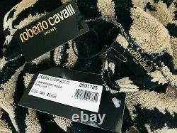 New Roberto Cavalli Zebra Tiger Animal Print Hooded Dressing Gown Robe
