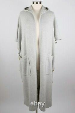 New Rosetta Getty one size gray pure cashmere sweater cardigan cape dress coat