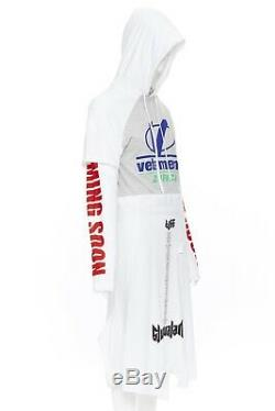 New VETEMENTS SS18 white deconstructed patchwork hooded t-shirt dress XS S M