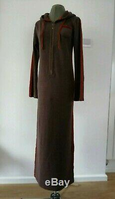 New Vintage Etro Size M Wool Cashmere Brown Hooded Long Sleeves Maxi Dress