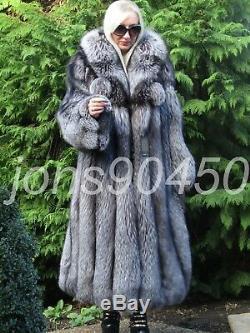 New Whole Pelt Luxury Saga Silver Fox Fur Swing Coat Large Hood XXL Rrp 16000