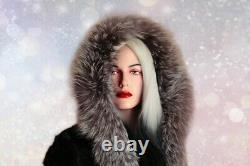 New genuine real MINK with Silver fox fur coat natural fur hood hooded black S
