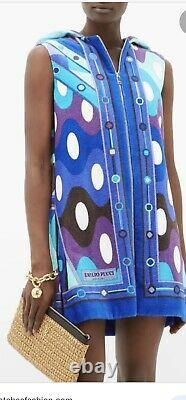New with Tags EMILIO PUCCI Vivara Printed Terry Hooded Cover-Up Dress Size Small