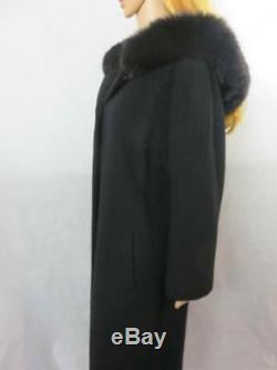 Nice REGENCY CASHMERE Long Dress COAT withHood FOX FUR TRIM Saks Fifth Ave Size 4